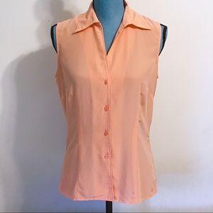 Jones Wear Pale Orange Sleeveless Blouse Size 4